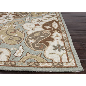 Jaipur Rugs IndoorOutdoor Floral Pattern Blue/Ivory Polypropylene Area Rug BA15 (Rectangle)