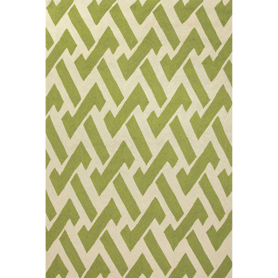Jaipur Rugs Indoor-Outdoor Geometric Pattern Green/Ivory Polypropylene Area Rug