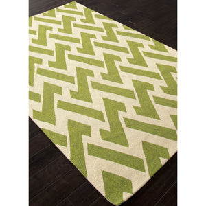 Jaipur Rugs IndoorOutdoor Geometric Pattern Green/Ivory Polypropylene Area Rug BA29 (Rectangle)