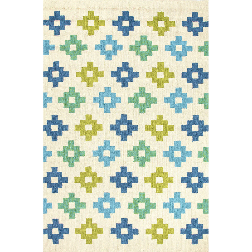 Jaipur Rugs Indoor-Outdoor Tribal Pattern Blue/Green Polypropylene Area Rug
