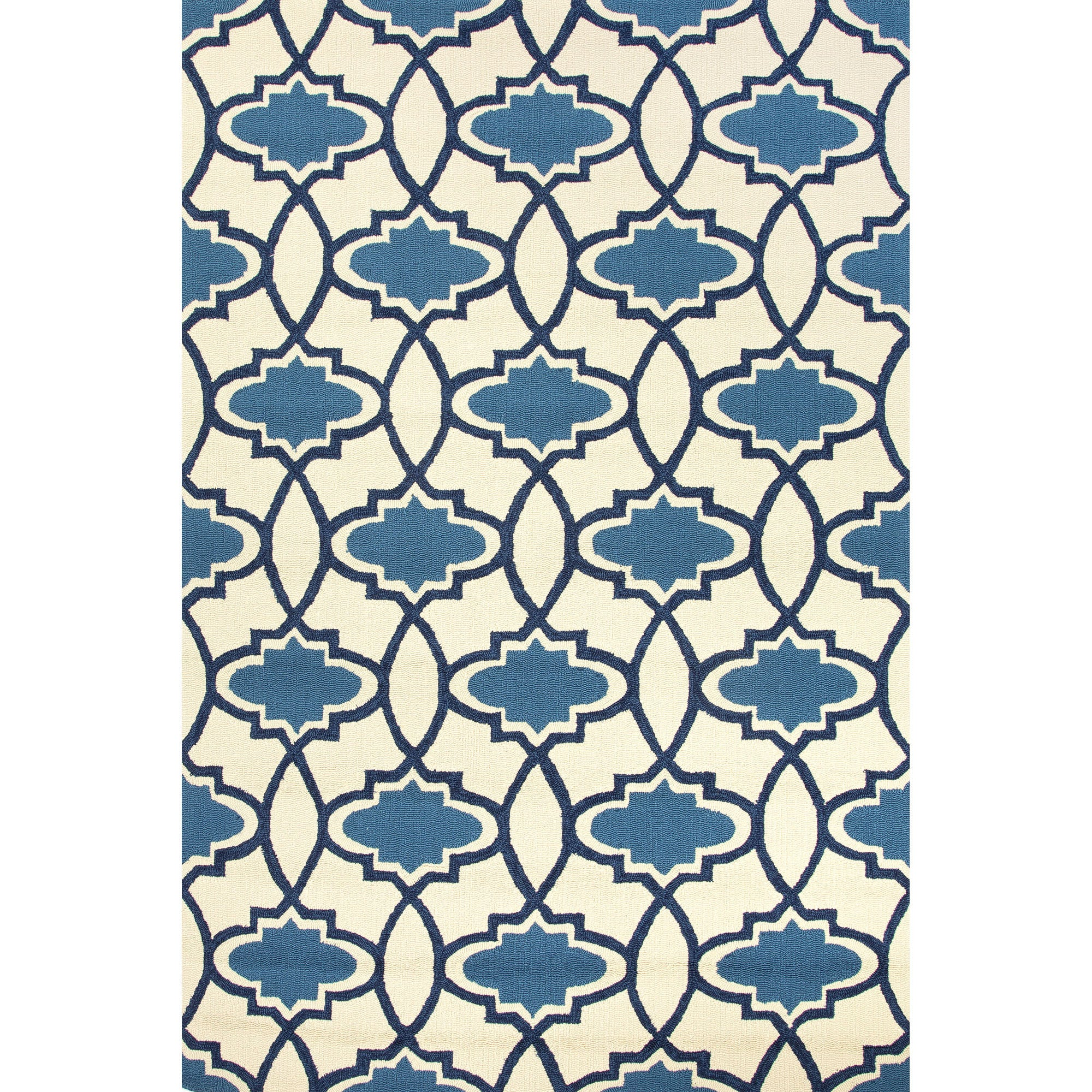 Jaipur Rugs Indoor-Outdoor Moroccan Pattern Blue/Ivory Polypropylene Area Rug