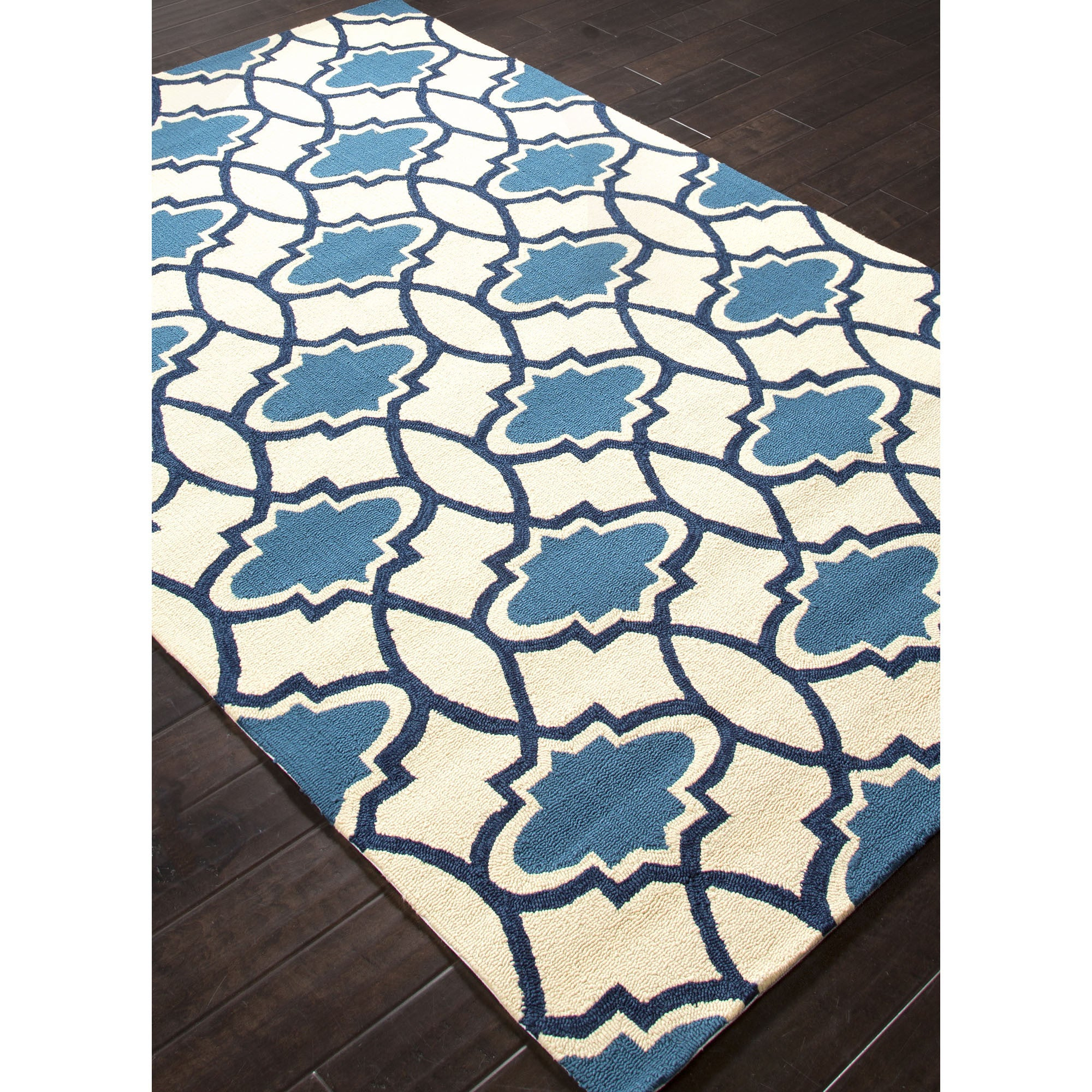 Jaipur Rugs IndoorOutdoor Moroccan Pattern Blue/Ivory Polypropylene Area Rug BA38 (Rectangle)