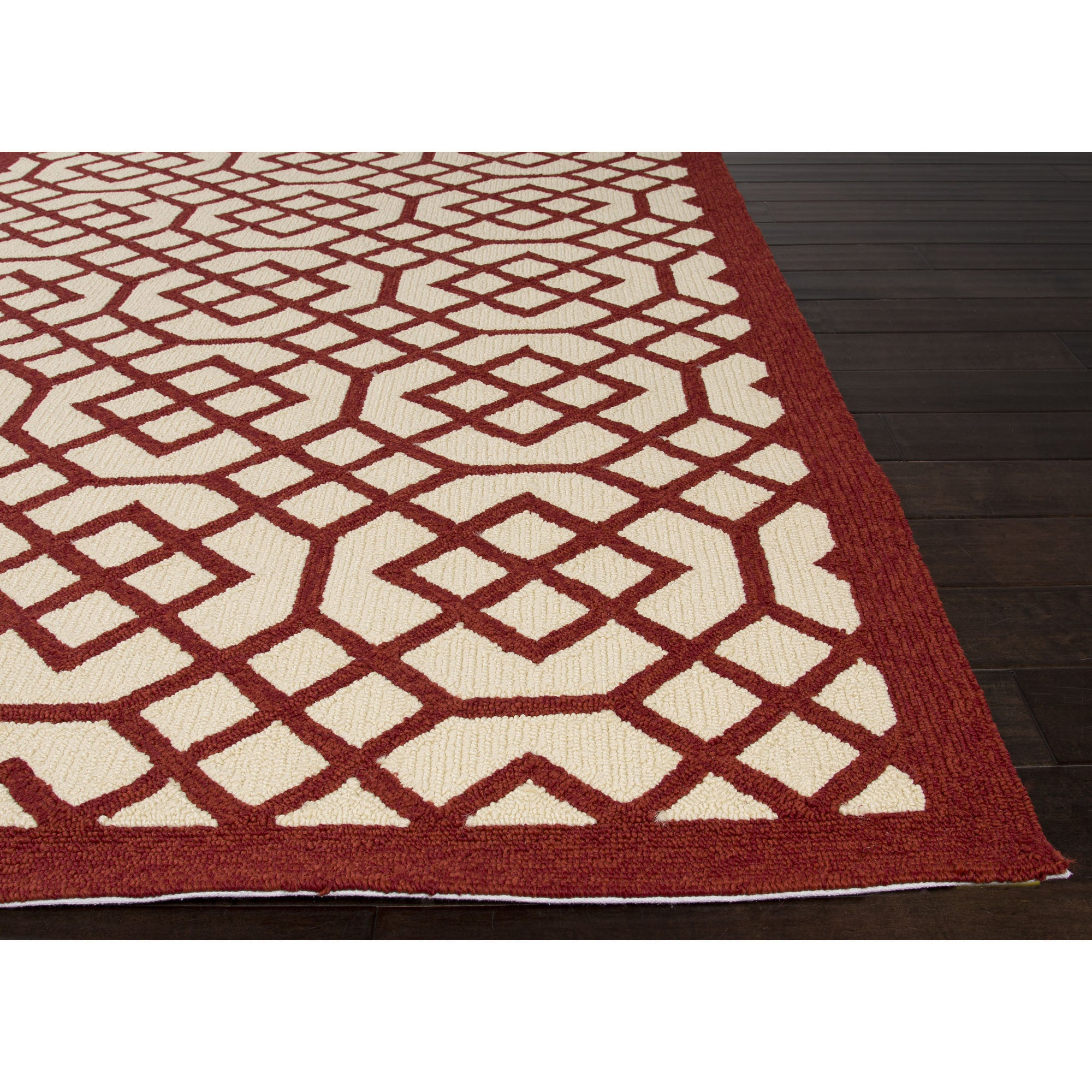 Jaipur Rugs IndoorOutdoor Geometric Pattern Red/Ivory Polypropylene Area Rug BA40 (Rectangle)