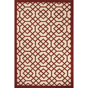 Jaipur Rugs Indoor-Outdoor Geometric Pattern Red/Ivory Polypropylene Area Rug