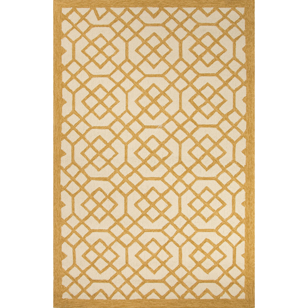 Jaipur Rugs Indoor-Outdoor Geometric Pattern Yellow/Ivory Polypropylene Area Rug