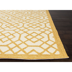 Jaipur Rugs IndoorOutdoor Geometric Pattern Yellow/Ivory Polypropylene Area Rug BA42 (Rectangle)