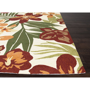 Jaipur Rugs IndoorOutdoor Floral Pattern Red/Orange Polypropylene Area Rug BA44 (Rectangle)