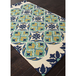 Jaipur Rugs IndoorOutdoor Tribal Pattern Blue/Green Polypropylene Area Rug BA45 (Rectangle)