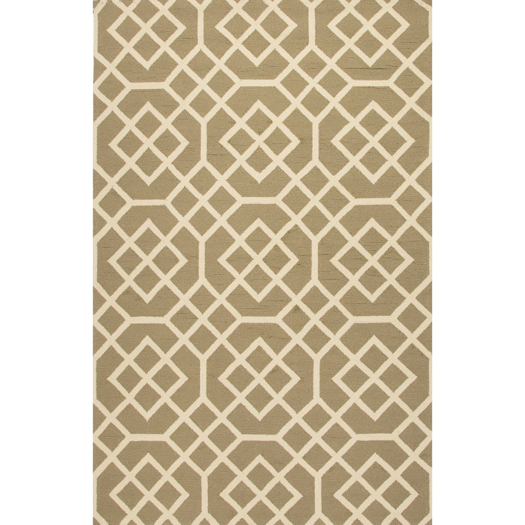 Jaipur Rugs Indoor-Outdoor Geometric Pattern Taupe/Ivory Polypropylene Area Rug