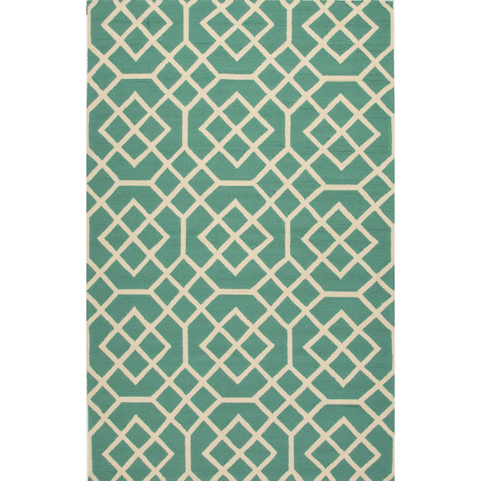 Jaipur Rugs Indoor-Outdoor Geometric Pattern Blue/Ivory Polypropylene Area Rug