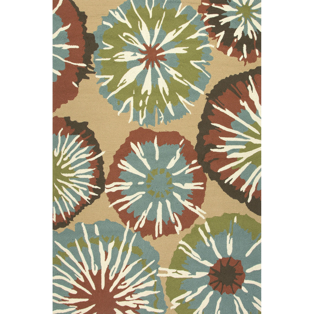 Jaipur Rugs Indoor-Outdoor Abstract Pattern Taupe/Blue Polypropylene Area Rug
