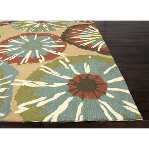 Jaipur Rugs IndoorOutdoor Abstract Pattern Taupe/Blue Polypropylene Area Rug BA57 (Rectangle)