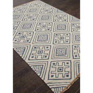 Jaipur Rugs FlatWeave Tribal Pattern Blue/Ivory Wool Area Rug BAT01 (Rectangle)