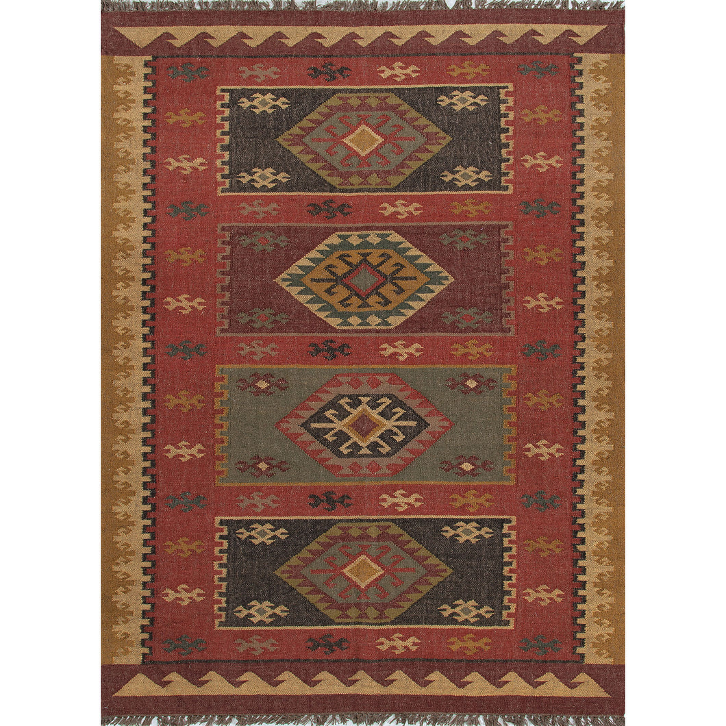 Jaipur Rugs Flat-Weave Tribal Pattern Red/Yellow Jute Area Rug