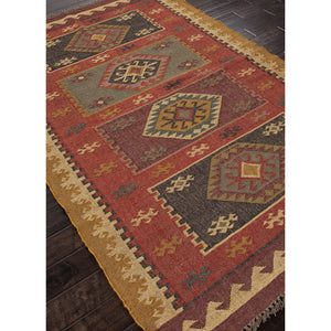 Jaipur Rugs FlatWeave Tribal Pattern Red/Yellow Jute Area Rug BD04 (Rectangle)