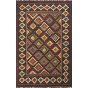 Jaipur Rugs Flat-Weave Tribal Pattern Black/Multi Jute Area Rug
