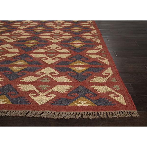 Jaipur Rugs Flatweave Tribal Pattern Red Ivory Jute Area