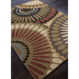 Jaipur Rugs Transitional Geometric Pattern Brown/Red Wool Area Rug BL01 (Rectangle)