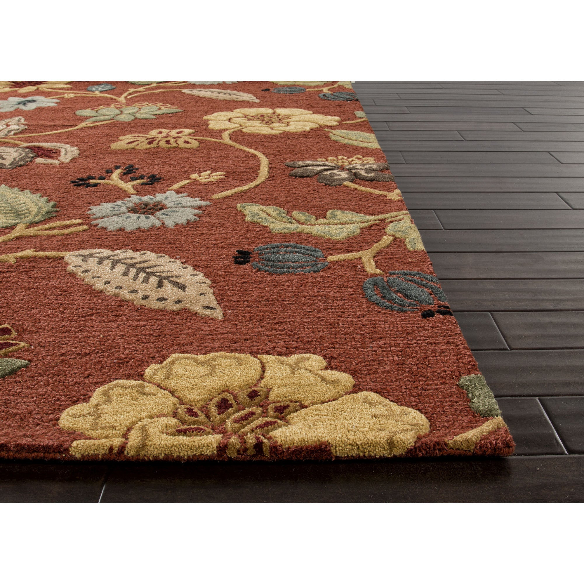 Jaipur rugs transitional floral pattern red multi wool for Red floral area rug