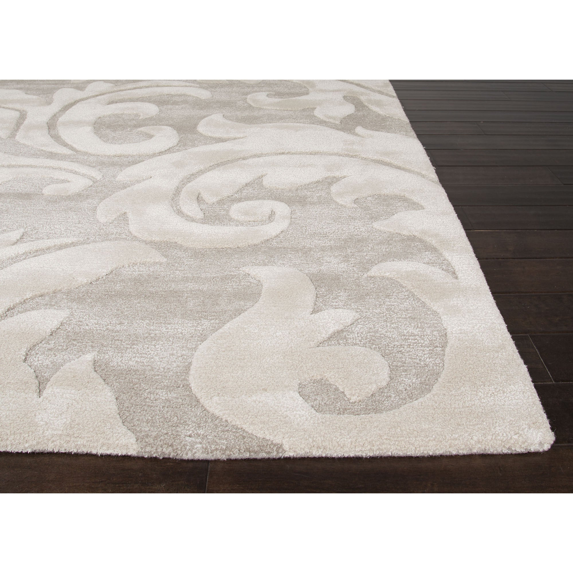 Jaipur Rugs Transitional Floral Pattern Gray Ivory Wool