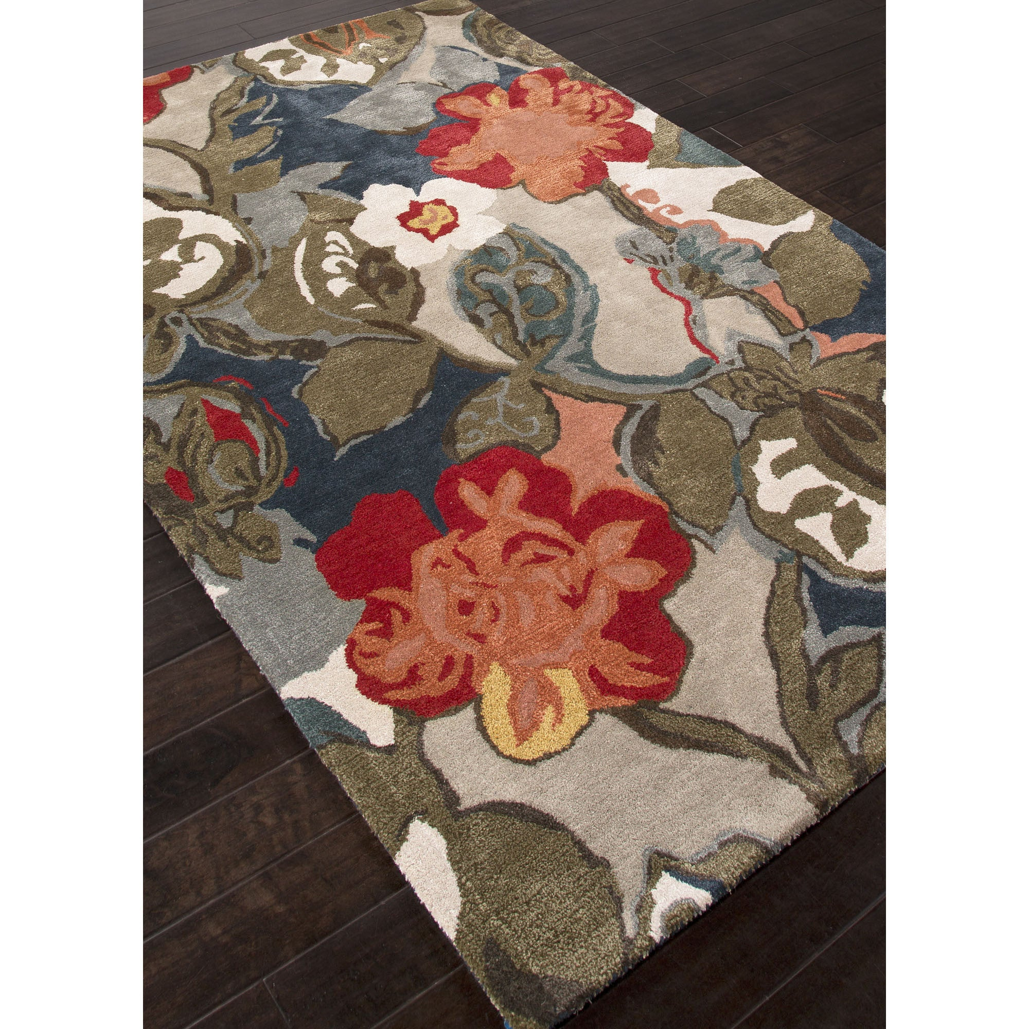 Jaipur rugs modern floral pattern blue red wool and art for Red floral area rug