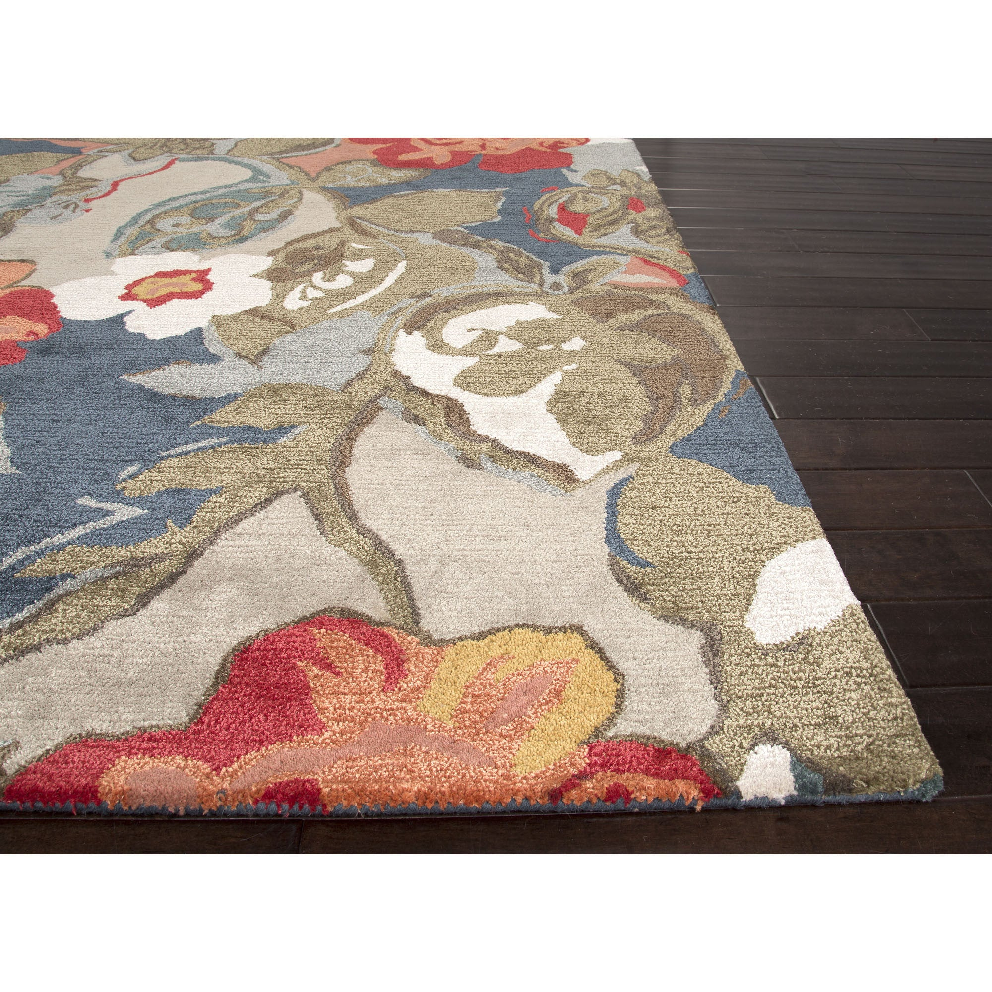 Jaipur rugs modern floral pattern blue red wool and art for Red area rugs contemporary