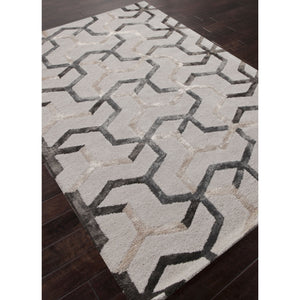Jaipur Rugs Modern Geometric Pattern Ivory/Gray Wool and Art Silk Area Rug BL125 (Rectangle)