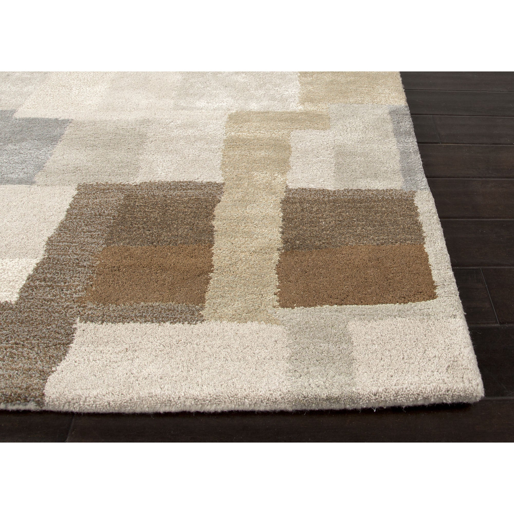 Jaipur rugs modern geometric pattern gray brown wool and for Grey and tan rug