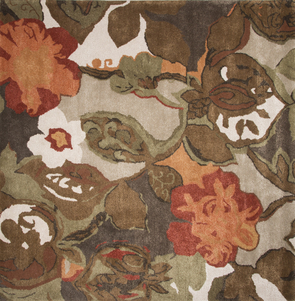 Jaipur Rugs Modern Floral Pattern Brown/Orange Wool and Art Silk Area Rug