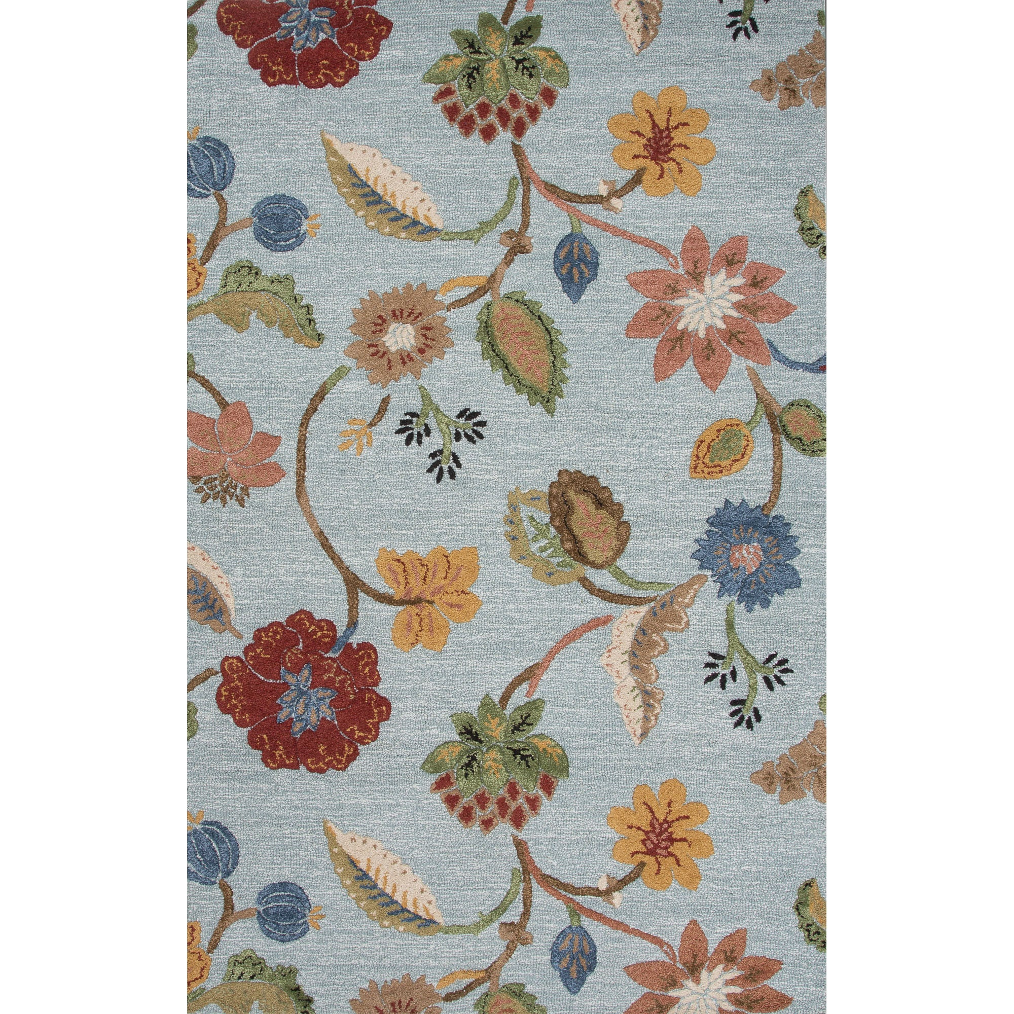 Woolrich Blue And White Floral Rug: Jaipur Rugs Transitional Floral Pattern Blue/Yellow Wool