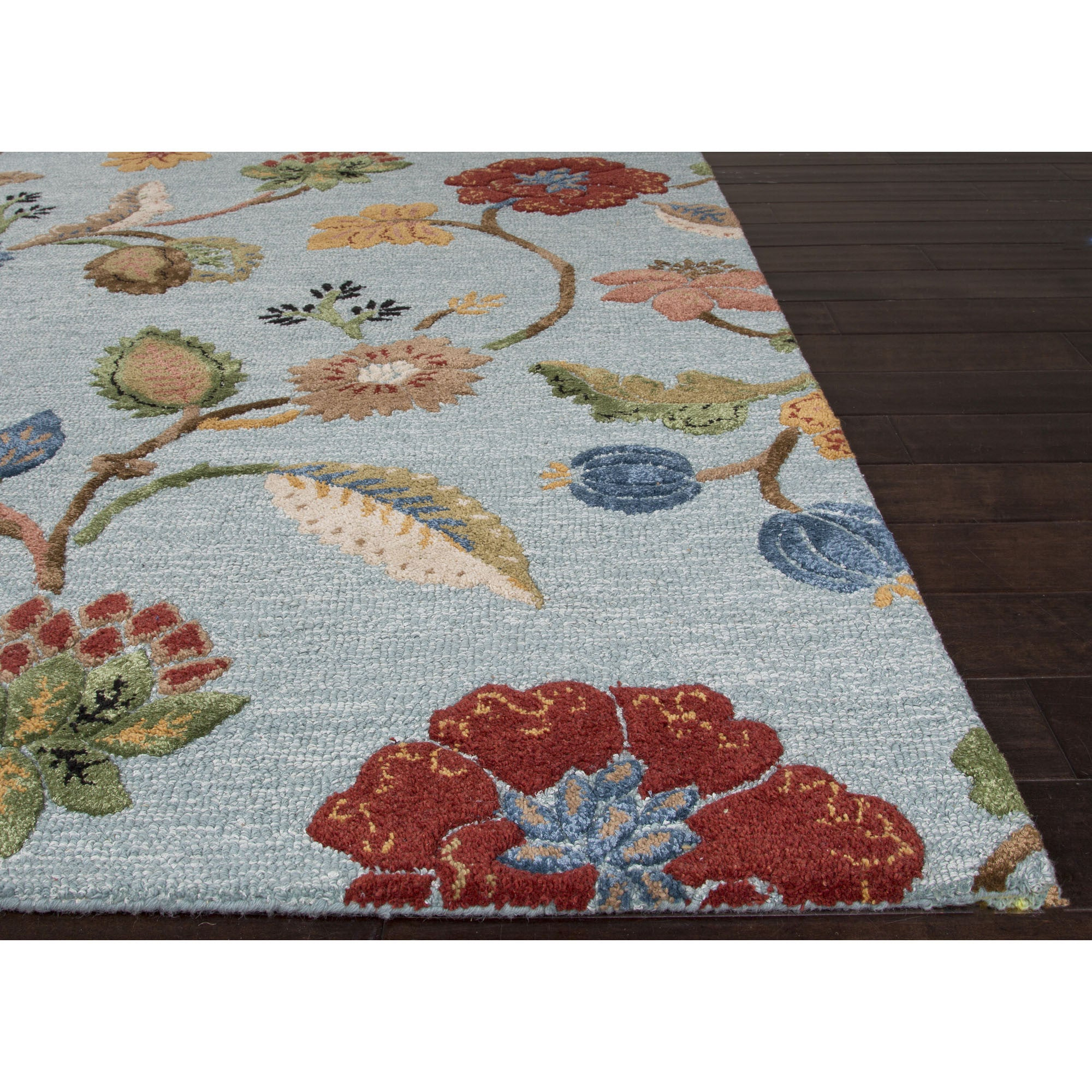 Jaipur Rugs Transitional Floral Pattern Blue Yellow Wool