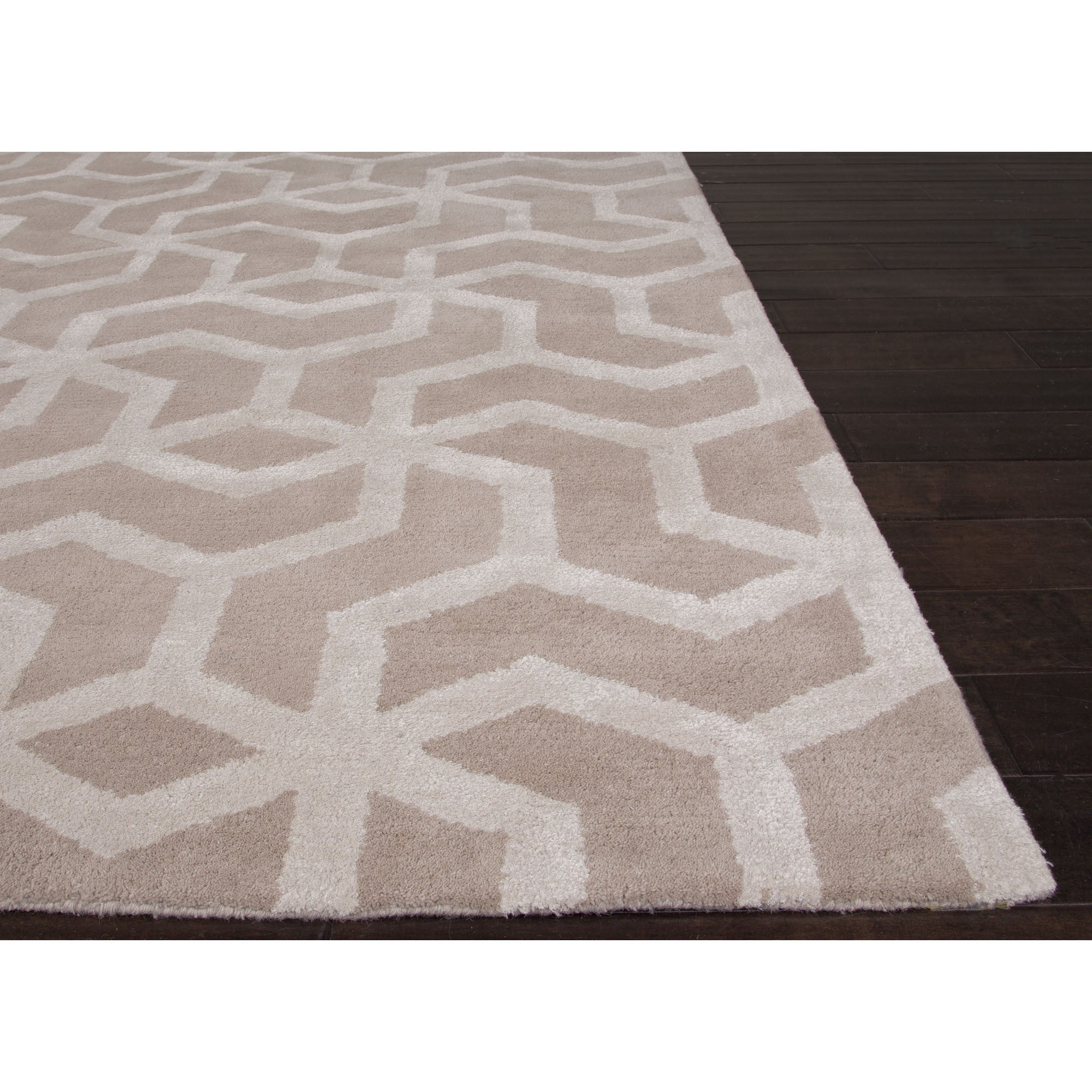 Jaipur rugs modern geometric pattern ivory white wool and for Modern wool area rugs