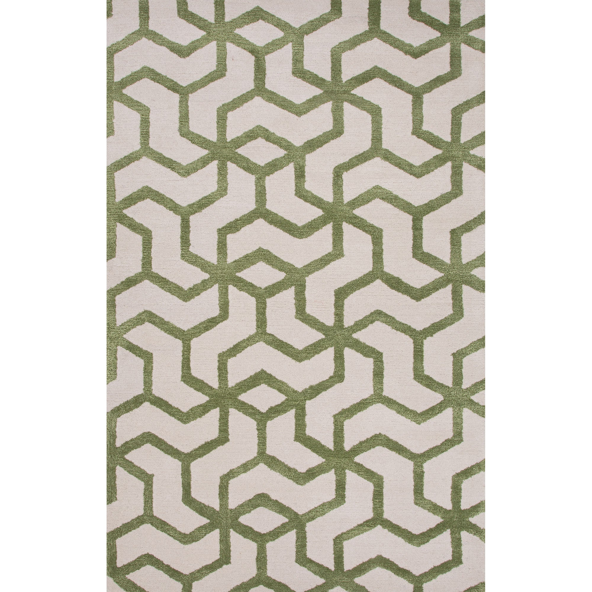 Jaipur Rugs Modern Geometric Pattern Ivory/Green Wool And