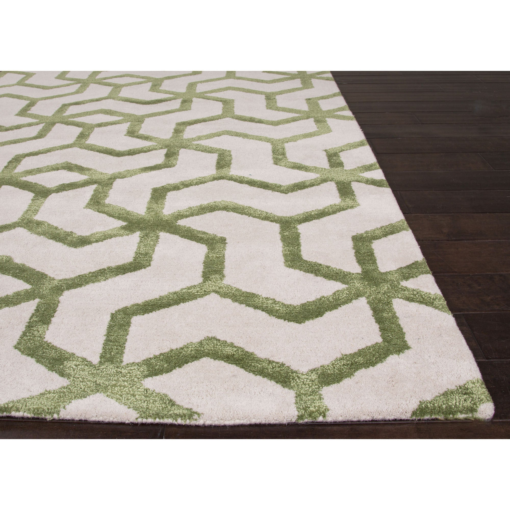 Jaipur Rugs Modern Geometric Pattern Ivory Green Wool And