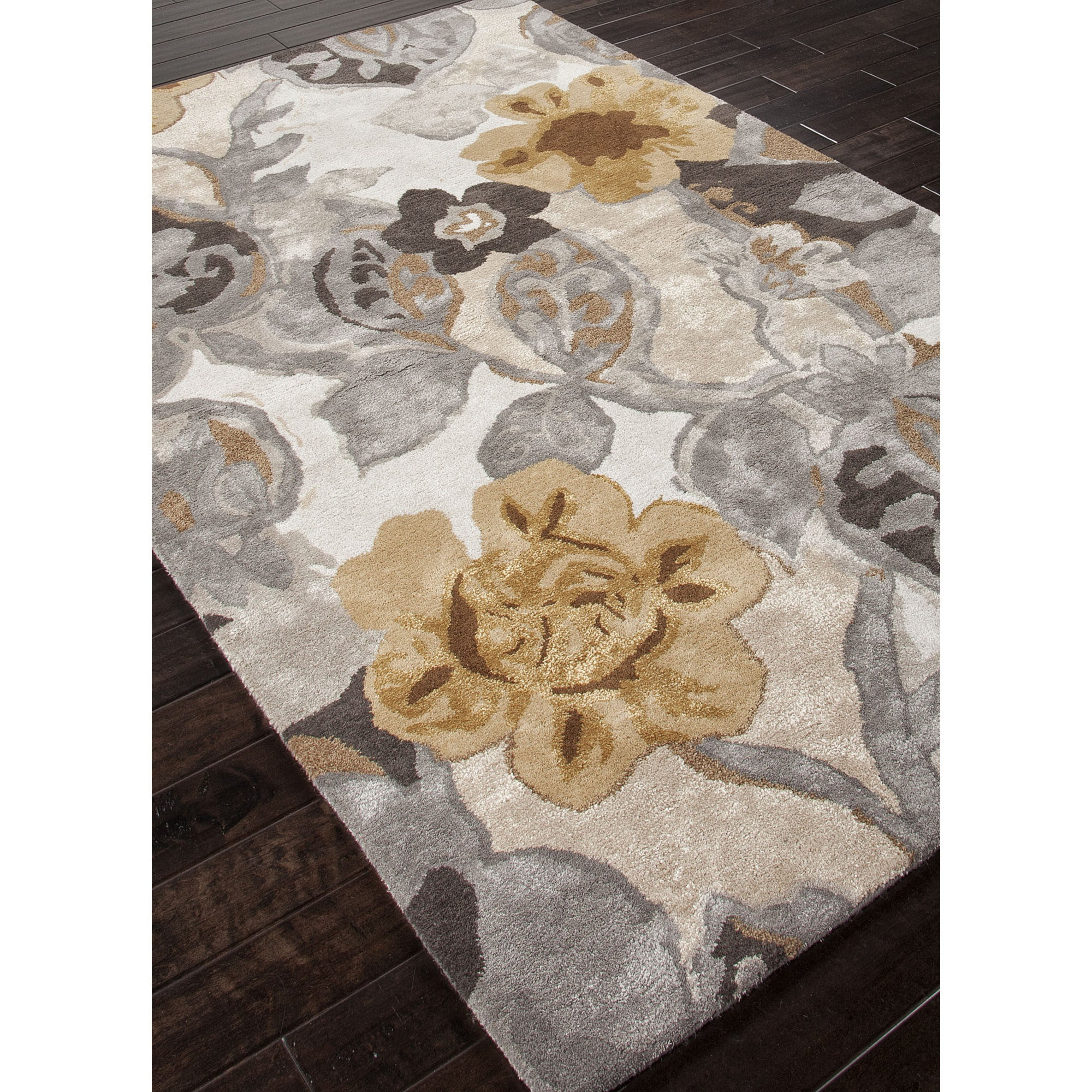 Jaipur Rugs Modern Floral Pattern Ivory Yellow Wool And