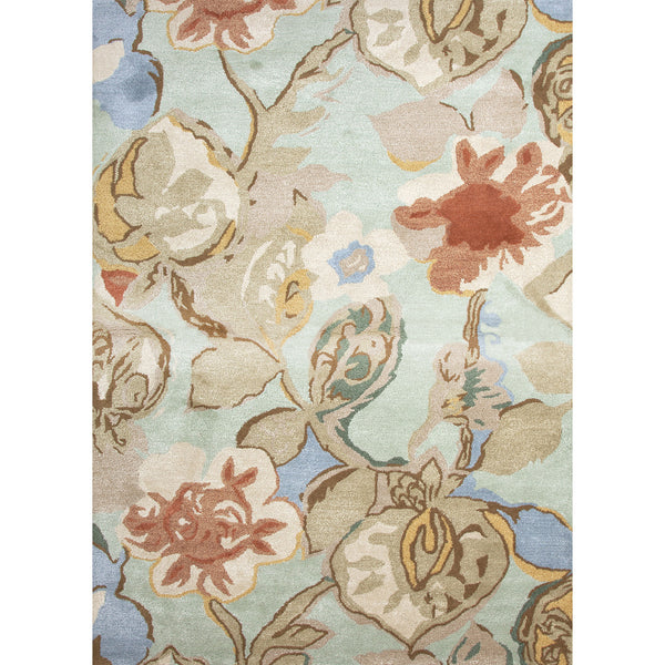 Jaipur Rugs Modern Floral Pattern Blue Red Wool And Art