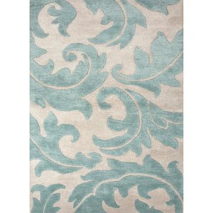 Jaipur Rugs Transitional Floral Pattern Ivory/Blue Wool and Art Silk Area Rug