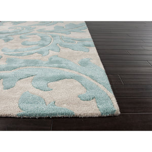 Jaipur Rugs Transitional Floral Pattern Ivory/Blue Wool and Art Silk Area Rug BL82 (Rectangle)