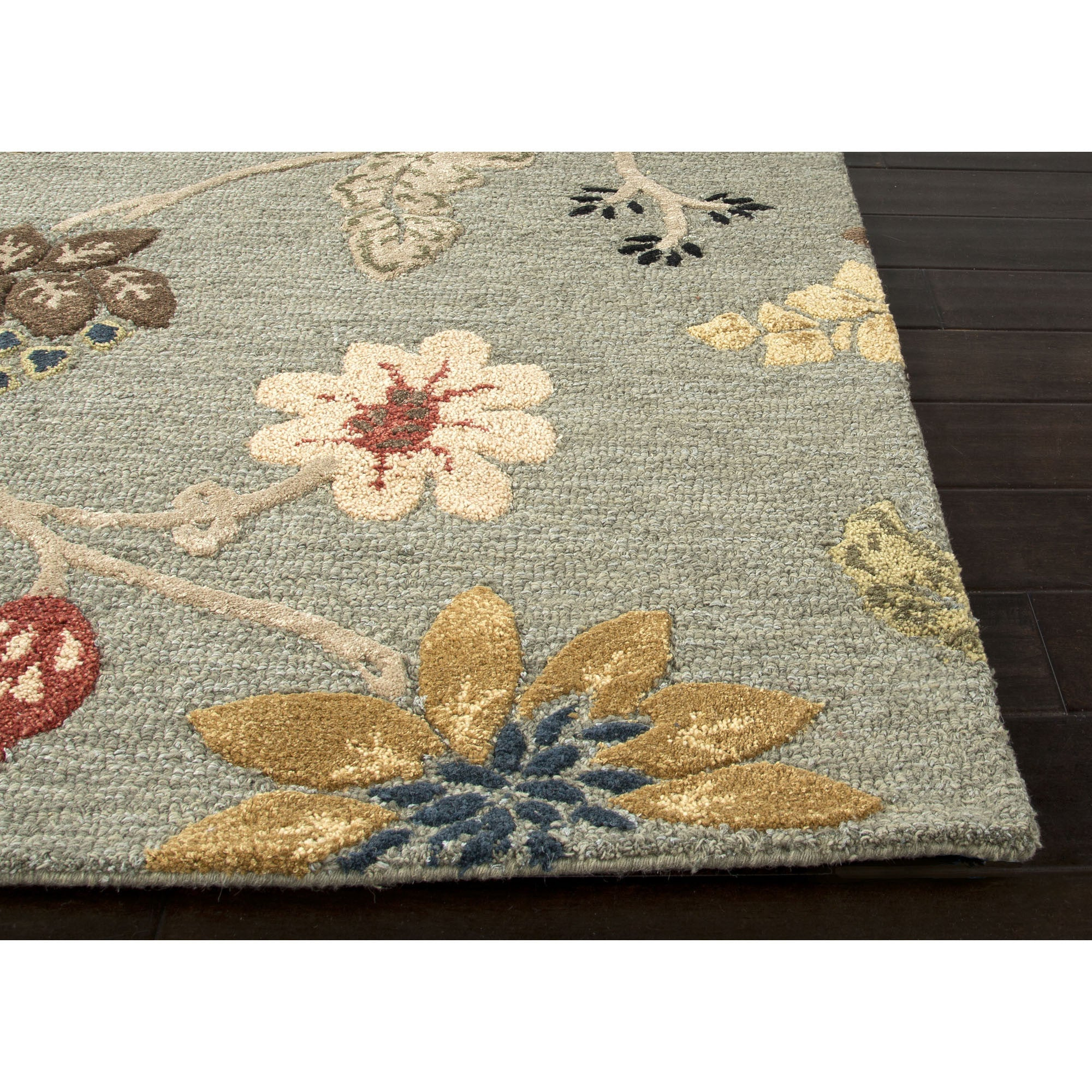 Jaipur Rugs Transitional Floral Pattern Blue Red Wool Area