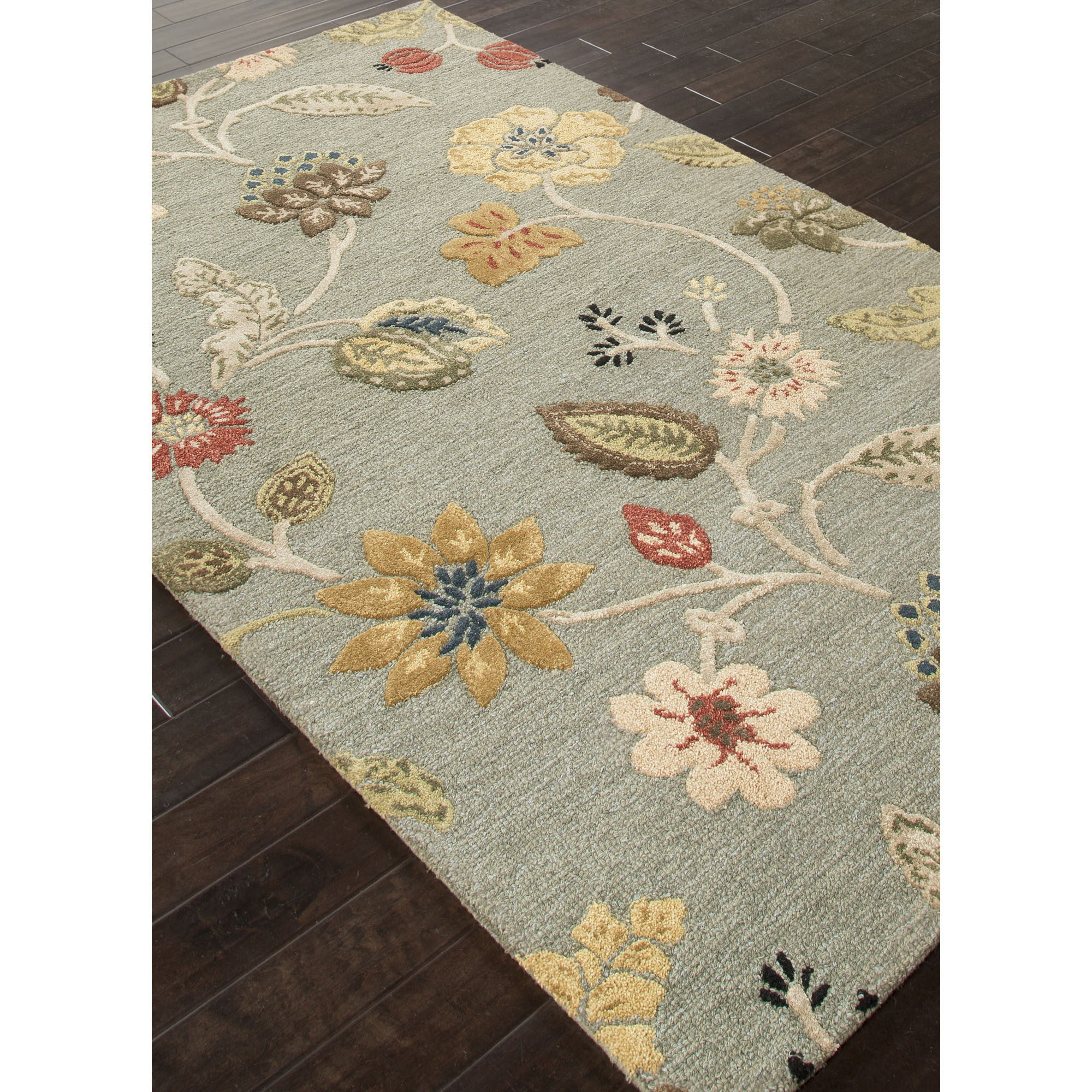 Jaipur rugs transitional floral pattern blue red wool area for Red floral area rug