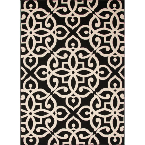 Jaipur Rugs Indoor-Outdoor Geometric Pattern Black/Taupe Polypropylene Area Rug