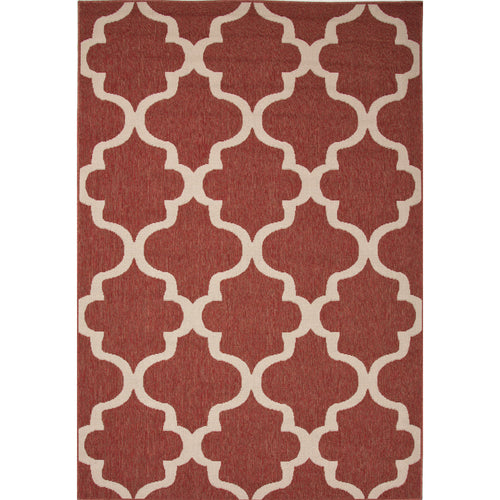 Jaipur Rugs Indoor-Outdoor Moroccan Pattern Red/Ivory Polypropylene Area Rug