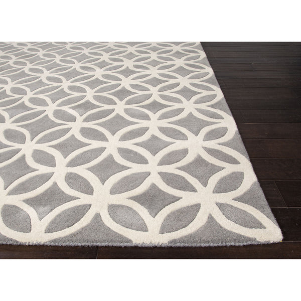 Jaipur Rugs Modern Geometric Pattern Gray Ivory Wool Area