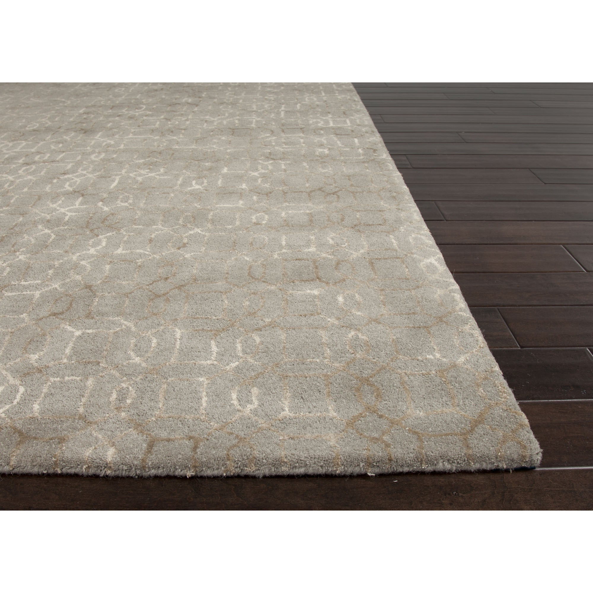 Jaipur rugs modern geometric pattern gray taupe wool and for Modern wool area rugs