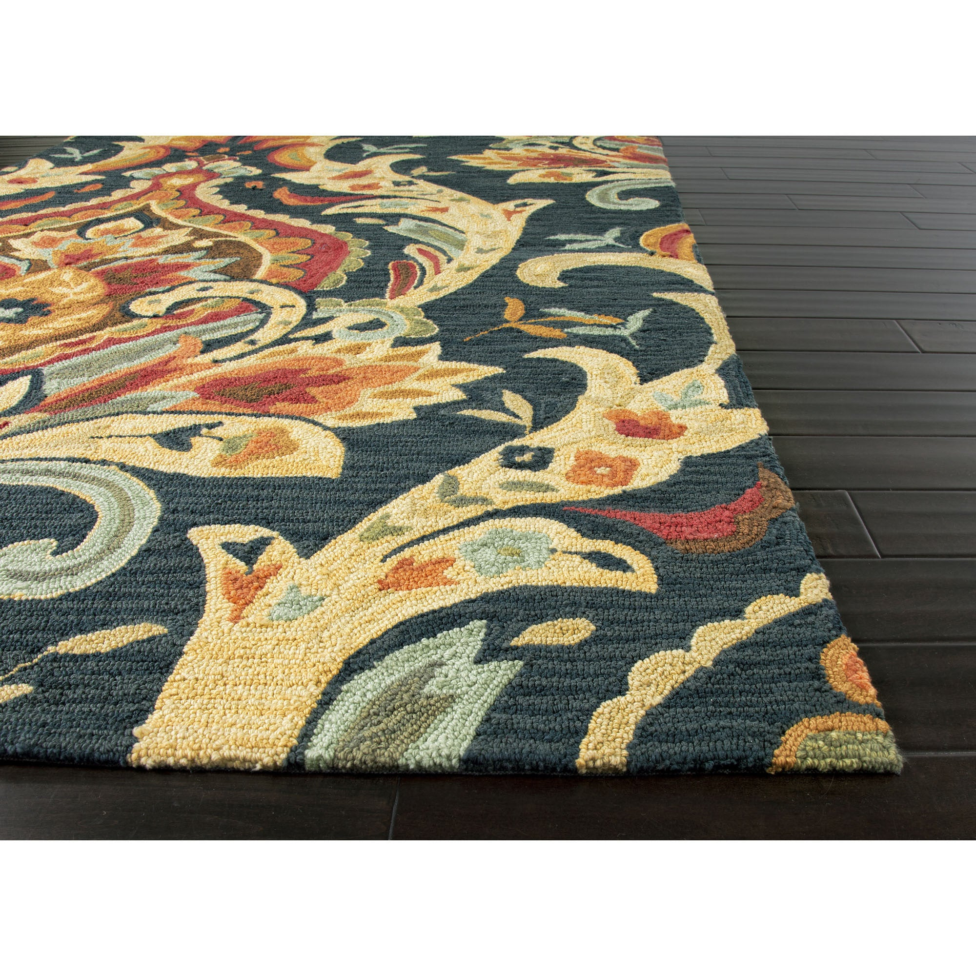 Jaipur rugs modern floral pattern blue red polyester area for Red and blue area rug