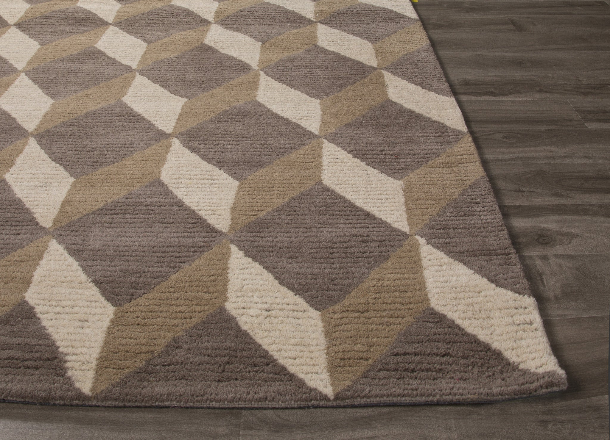 Jaipur rugs modern geometric pattern gray brown wool area for Modern wool area rugs