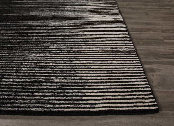 Jaipur Rugs Modern Stripe Pattern Black Gray Wool Area Rug