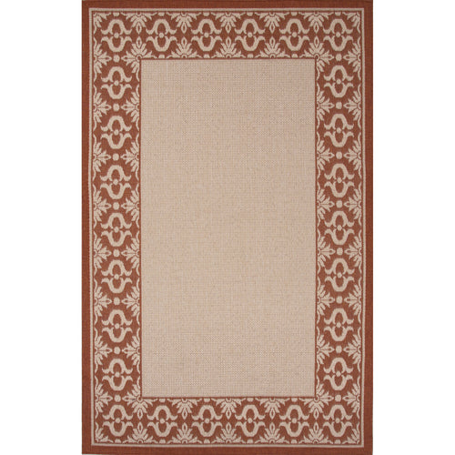 Jaipur Rugs Indoor-Outdoor Boarder Pattern Ivory/Red Polypropylene Area Rug
