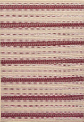 Jaipur Rugs Indoor-Outdoor Stripe Pattern Taupe/Red Polypropylene Area Rug