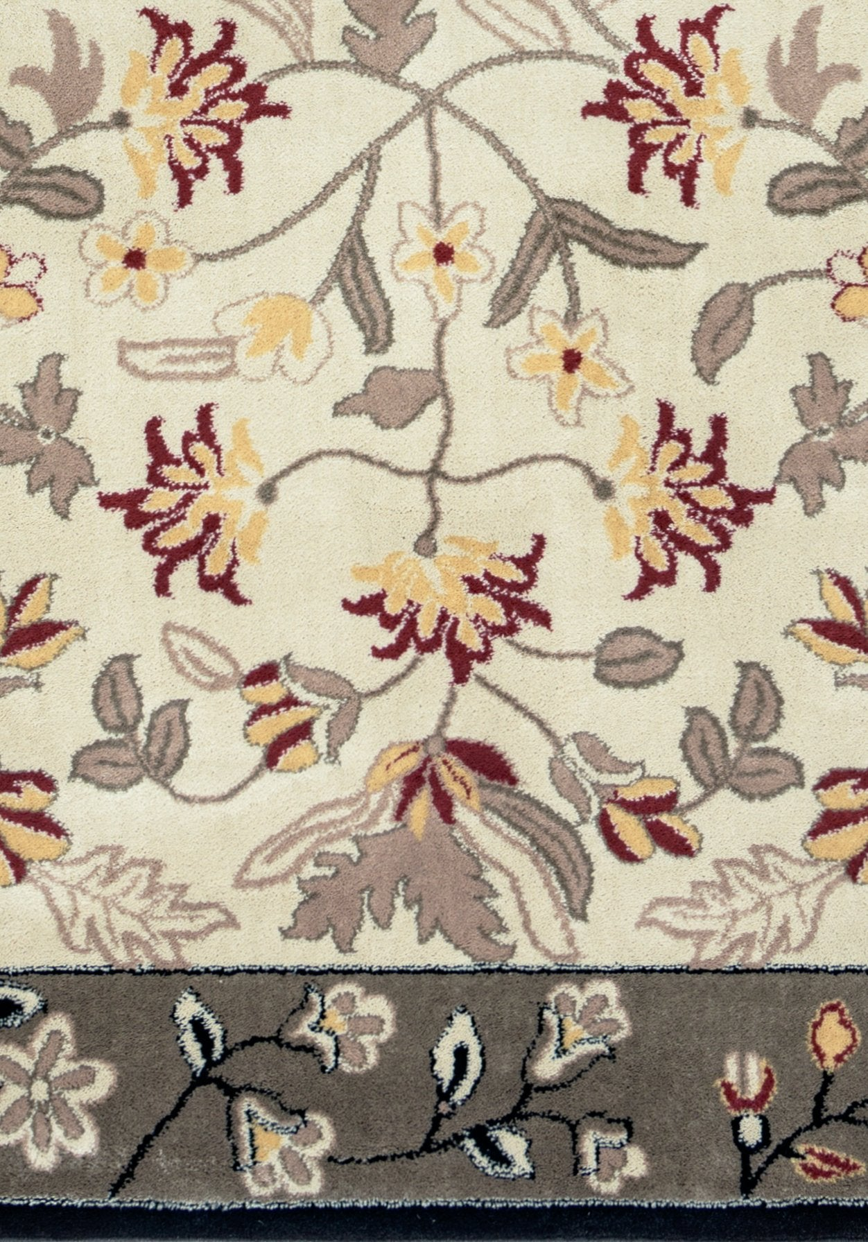 Rizzy Home Bay Side Bs3678 Khaki Grey Border Floral Area